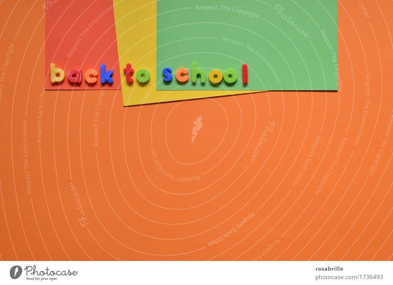 Schule faengt wieder an Kind Freude Schule orange Arbeit & Erwerbstätigkeit Schriftzeichen Kindheit Fröhlichkeit lernen Papier Zeichen lesen Bildung schreiben Spielzeug Schüler