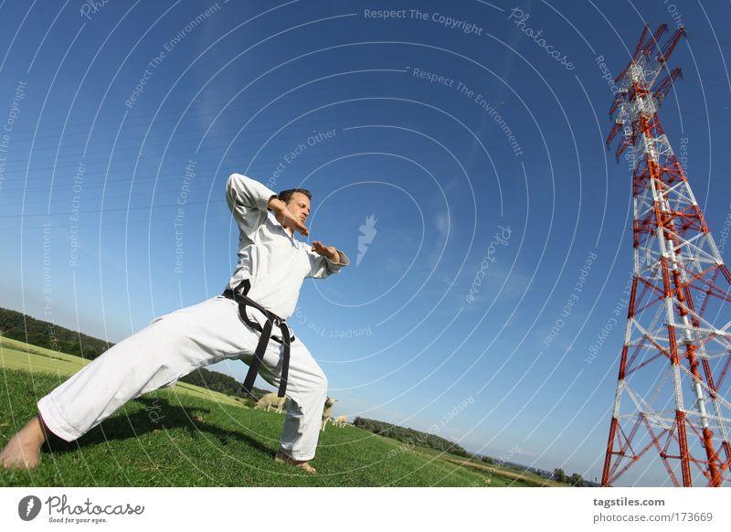 SICH ZUSAMMENREISSEN Mann schwarz Kraft Kraft Körperhaltung stark Typ Kontrolle kämpfen Kerl Gürtel Kampfsport Defensive Textfreiraum Karate Kämpfer