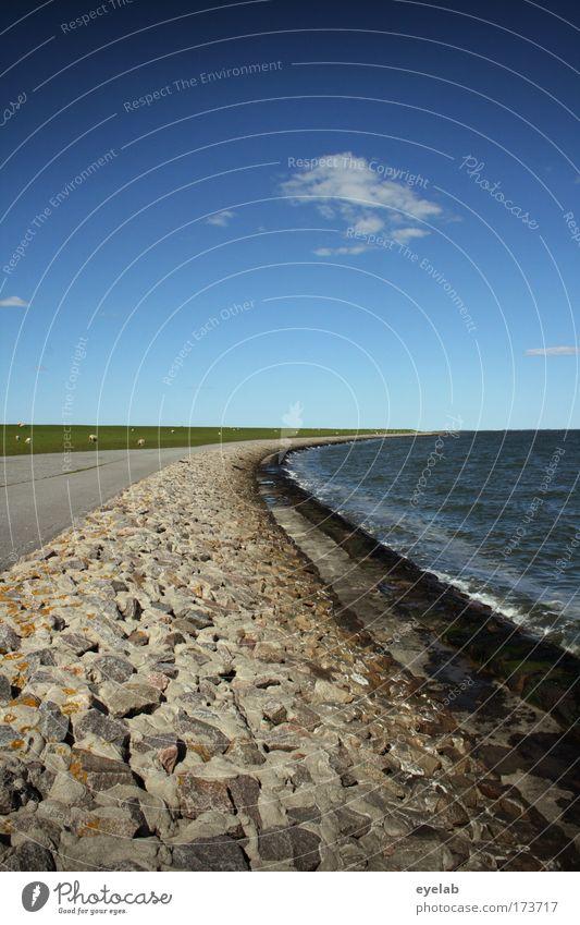 Nah am Wasser gebaut Natur Himmel Meer Sommer Ferien & Urlaub & Reisen Wolken Straße Erholung Wiese Gras Wege & Pfade Wärme Landschaft Wellen Küste