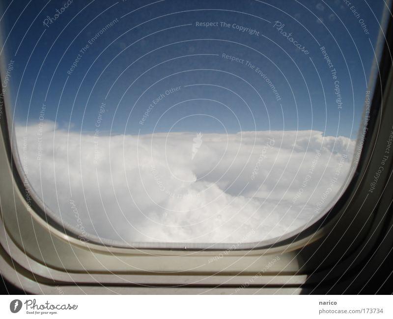 Ausblick über den Wolken - halfpipe-heaven ;-) Himmel weiß blau Ferien & Urlaub & Reisen oben warten Flugzeug fliegen Verkehr hoch Luftverkehr Tourismus weich