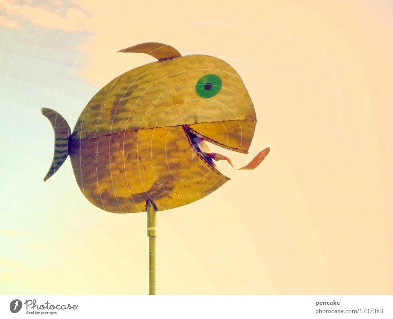 seezunge Kunst Kunstwerk Skulptur Urelemente Himmel Fisch Metall Zeichen Coolness frech Fröhlichkeit heiß wild Design Freude Lebensfreude Zunge Auge Meerestier