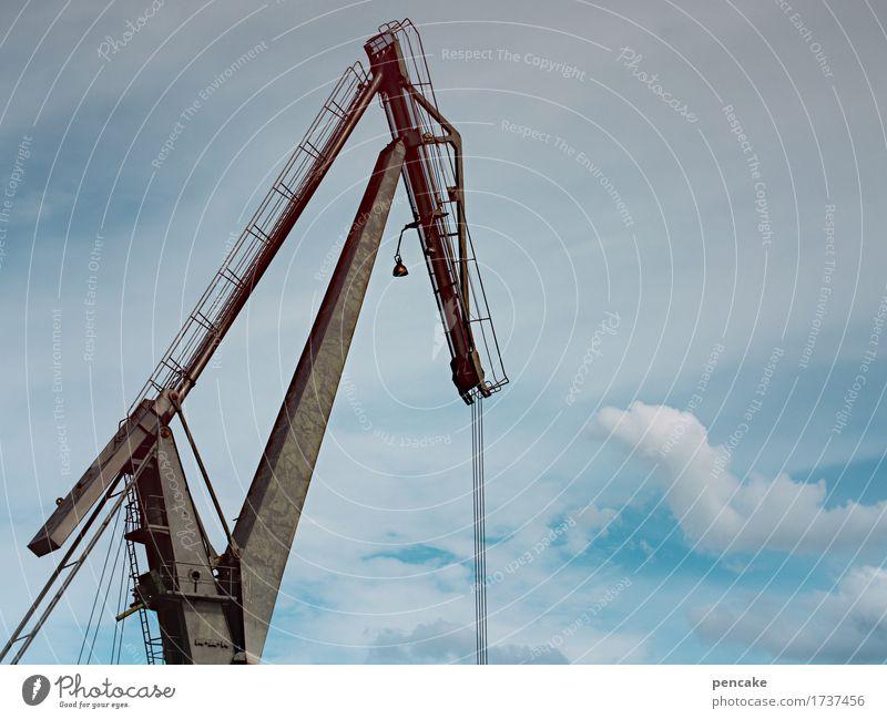 einen heben Werkzeug Maschine Technik & Technologie Industrie Urelemente Himmel Roboter Metall bauen Bewegung hängen machen stark Stress Kraft Kran Hafen