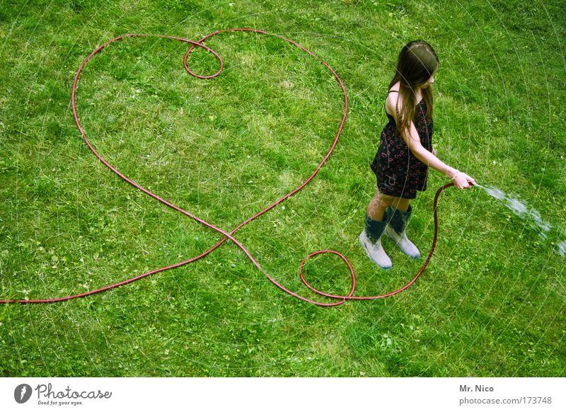lovely Mädchen Pflanze Gras Garten Wiese Arbeit & Erwerbstätigkeit Frühlingsgefühle Herz heart Wasserschlauch spritzen gießen Gummistiefel Kleid Liebe Gefühle