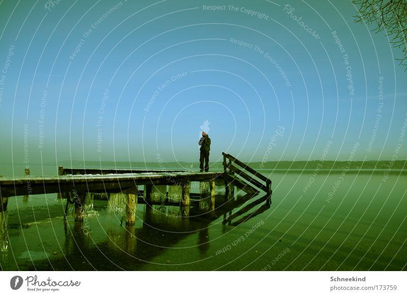 Die absolute Ruhe Mensch Himmel schön Einsamkeit ruhig Ferne Erholung kalt Freiheit Glück Küste Traurigkeit Denken träumen Eis Zufriedenheit