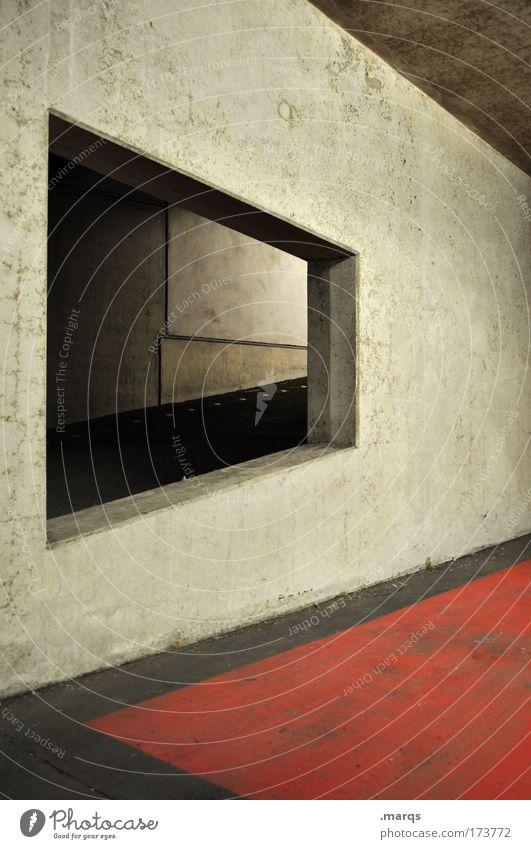 Auffahrt rot dunkel Wand Architektur Stil Gebäude Mauer dreckig Beton Design Verkehr außergewöhnlich Bauwerk Grafik u. Illustration Parkplatz Neigung