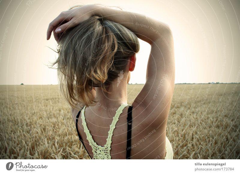 sommerstimmung Frau Mensch Natur Jugendliche Sommer Leben feminin Freiheit Feld Erwachsene frei Gelassenheit genießen Schönes Wetter 18-30 Jahre