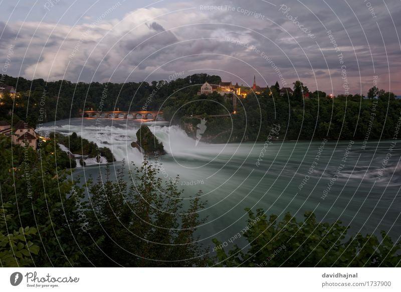 Rheinfall Umwelt Natur Landschaft Wasser Wolken Flussufer Wasserfall Schaffhausen Schweiz Europa Burg oder Schloss Brücke Sehenswürdigkeit Idylle Tourismus