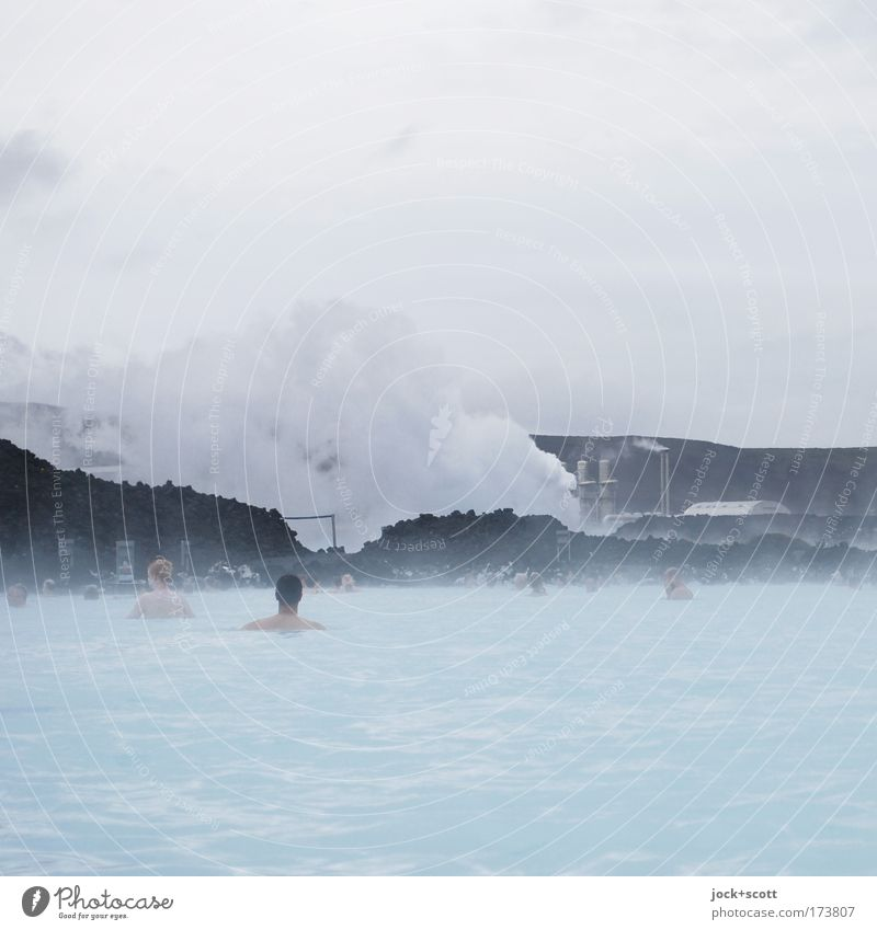 Thermal outdoor swimming pool (1) Mensch blau Erholung Wolken Umwelt Gesundheit Schwimmen & Baden außergewöhnlich See Zufriedenheit nass Wellness rein