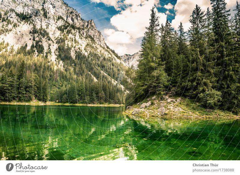 Grüner See Sommer Erholung ruhig Ferne Wald Berge u. Gebirge Freiheit Felsen Tourismus Zufriedenheit wandern Ausflug genießen Abenteuer Hügel