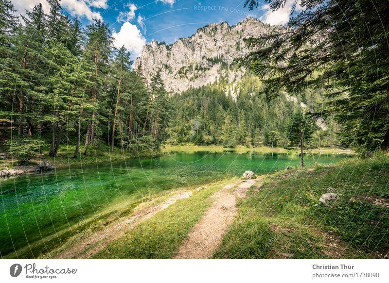 Grüner See Himmel Natur Ferien & Urlaub & Reisen Baum Landschaft Erholung ruhig Ferne Strand Wald Berge u. Gebirge Umwelt Lifestyle Freiheit Felsen