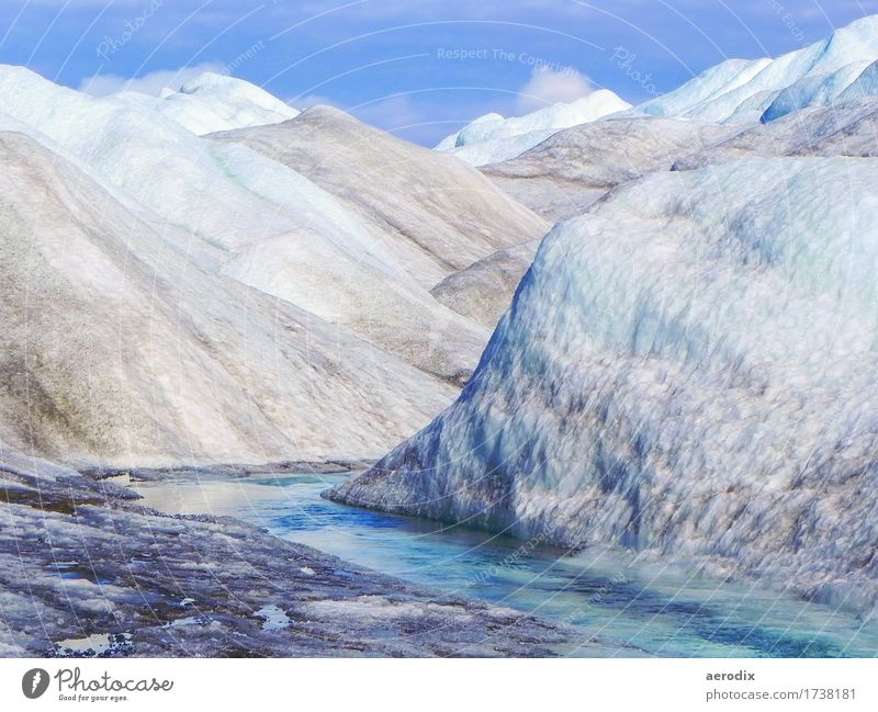 Eisberge auf dem Inlandeis in Grönland mit blauem Gletscherfluss Himmel Natur Sommer Wasser weiß Landschaft Ferne kalt Freiheit Tourismus Klima Schönes Wetter