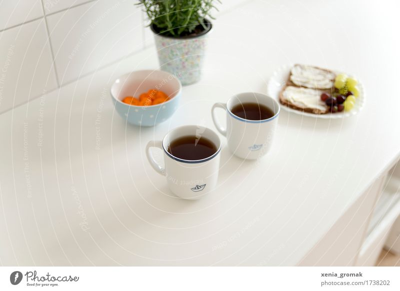 Frühstück Gesunde Ernährung weiß Erholung ruhig Leben Lifestyle Lebensmittel Frucht Zufriedenheit genießen Fitness Getränk Kaffee Wellness Gemüse