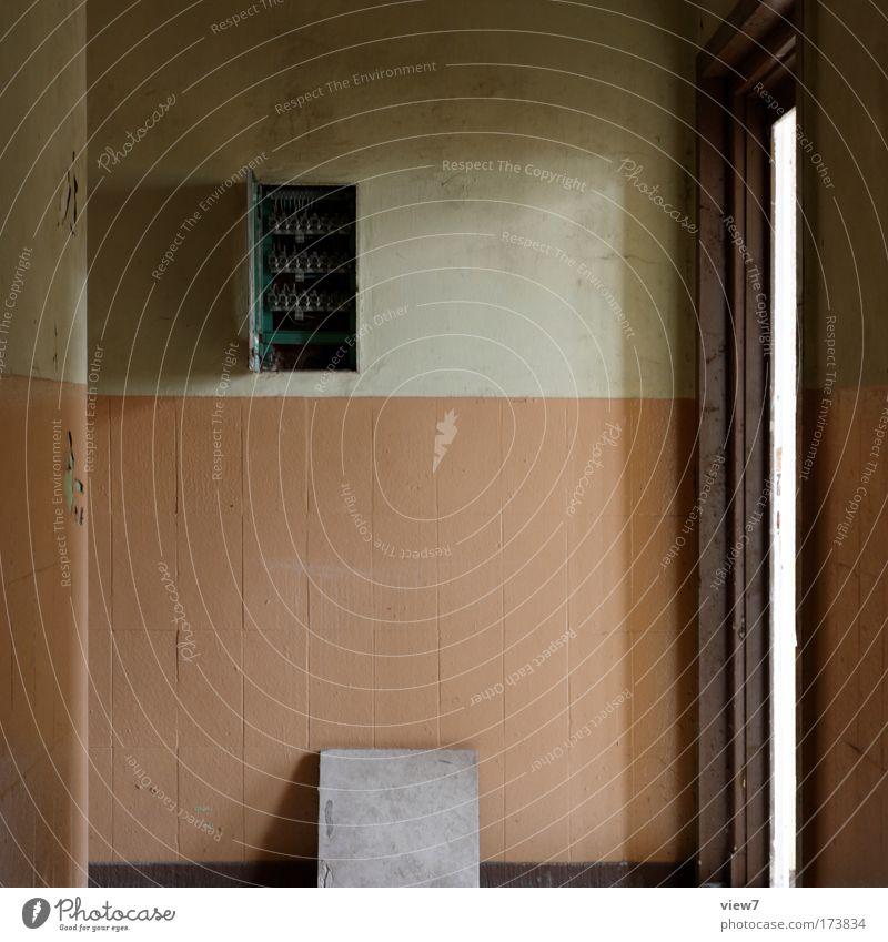 Indi vier alt Haus Wand Stein Mauer braun Raum Metall dreckig Wohnung Tür Kabel authentisch einfach Wandel & Veränderung Dekoration & Verzierung