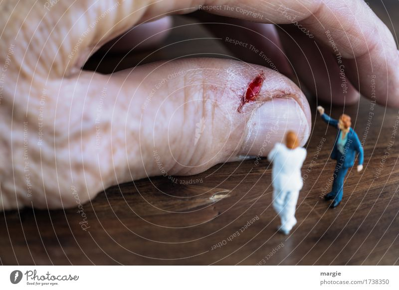 Miniwelten - Wunde Beruf Arzt Krankenhaus Dienstleistungsgewerbe Gesundheitswesen sprechen Team Mensch maskulin Mann Erwachsene Hand Finger 2 braun verletzen