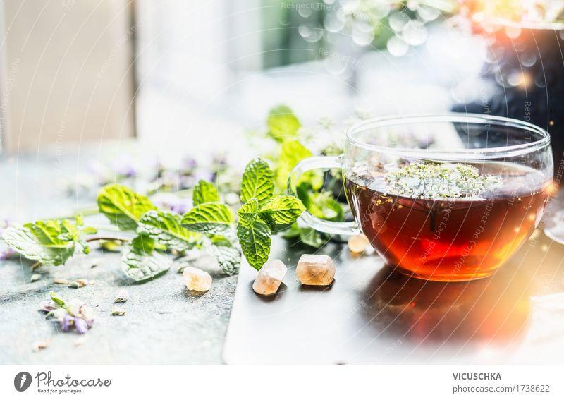Tasse mit Kräutertee am Fenster Natur Gesunde Ernährung Fenster Leben Stil Gesundheit Lebensmittel Design Wohnung Häusliches Leben Tisch Kräuter & Gewürze Getränk Bioprodukte Duft Tee