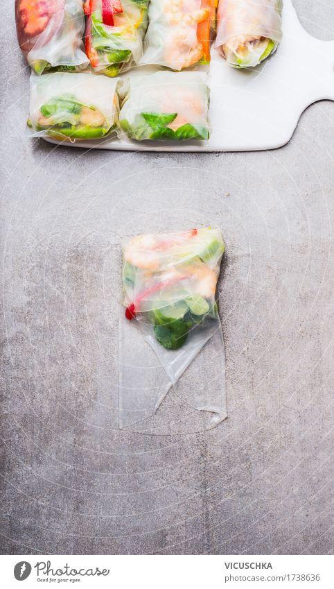 Vegetarische Reispapierröllchen machen Lebensmittel Meeresfrüchte Gemüse Salat Salatbeilage Kräuter & Gewürze Ernährung Mittagessen Büffet Brunch Bioprodukte