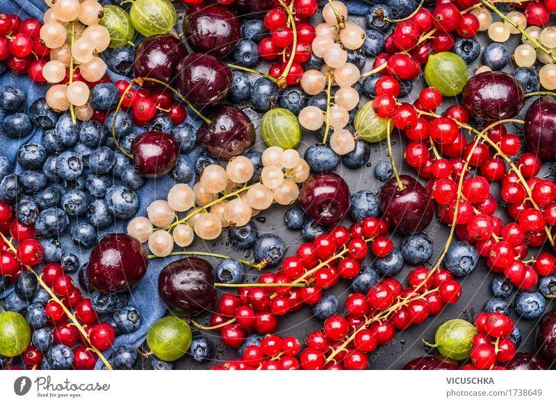 Verschiedene Sommerbeeren, Hintergrund Lebensmittel Frucht Dessert Ernährung Bioprodukte Vegetarische Ernährung Diät Stil Design Gesundheit Gesunde Ernährung