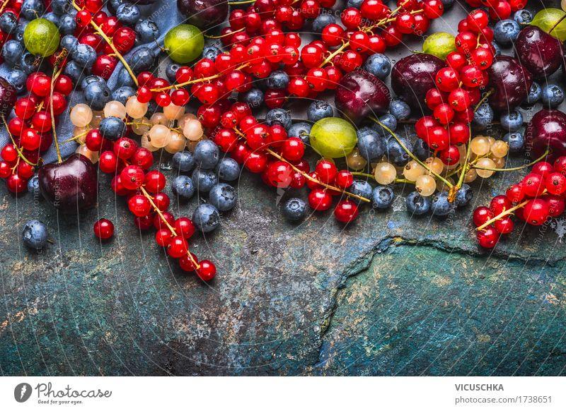 Köstliche Sommerbeeren Lebensmittel Frucht Ernährung Bioprodukte Vegetarische Ernährung Diät Stil Design Gesundheit Gesunde Ernährung Beeren Auswahl Blaubeeren