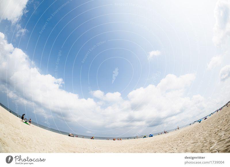 Zufriedener Blick in die Runde Himmel Ferien & Urlaub & Reisen Sommer Wasser Sonne Meer Erholung ruhig Strand Liebe Küste Schwimmen & Baden Sand hell träumen