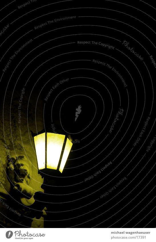 wilder Löwe Lampe Laterne Licht dunkel alt Löwenkopf Kunstlicht Nachtaufnahme Vor dunklem Hintergrund Textfreiraum oben Textfreiraum Mitte Straßenbeleuchtung