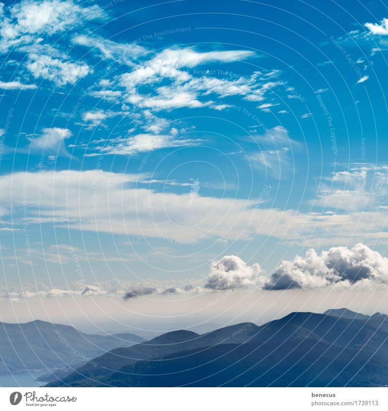 cloudline Sommer Berge u. Gebirge Natur Landschaft Luft Himmel Wolken Horizont Wetter Schönes Wetter Hügel Kanton Tessin Bergkette Wolkenformation Wolkenband