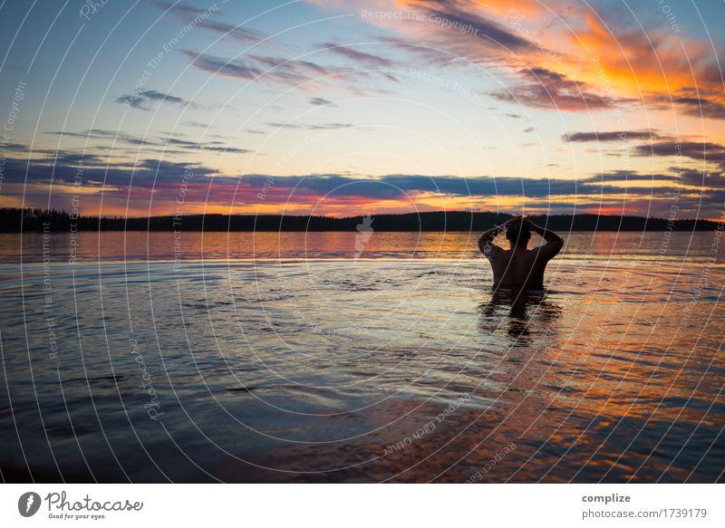Finnland Sauna & See mit Sonnenuntergang Mensch Natur Ferien & Urlaub & Reisen Mann Sommer Meer Erholung ruhig Strand Erwachsene Küste Gesundheit Freiheit
