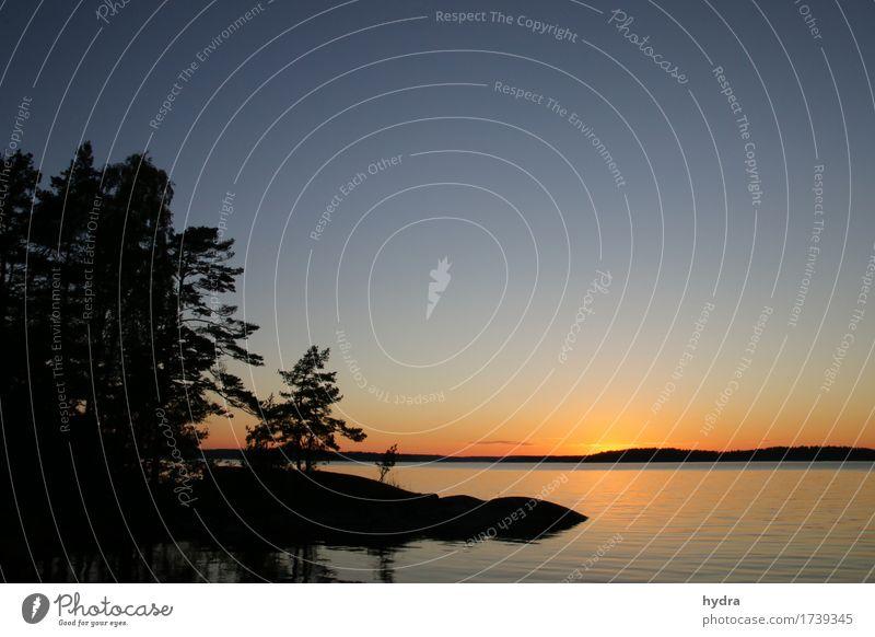 Mittsommernacht Ferien & Urlaub & Reisen blau Sommer Wasser Sonne Meer Erholung Einsamkeit ruhig Wald Küste Glück Freiheit Felsen orange Horizont