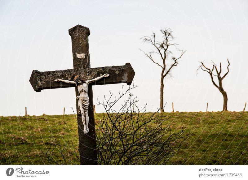 Jesus auf dem Land Umwelt Natur Landschaft Pflanze Frühling schlechtes Wetter Baum Feld Hügel Zeichen Kreuz Mitgefühl gehorsam friedlich Güte Opferbereitschaft