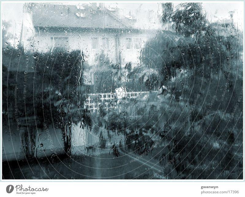 Wolkenbruch Regen Haus Fenster Gewitter Garten