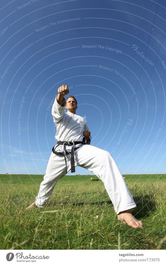 BLIZZARD ... Mann Hand Sport Gesundheit maskulin hoch Aktion Sport-Training sportlich üben Faust treten Karate Kick Athlet Mensch