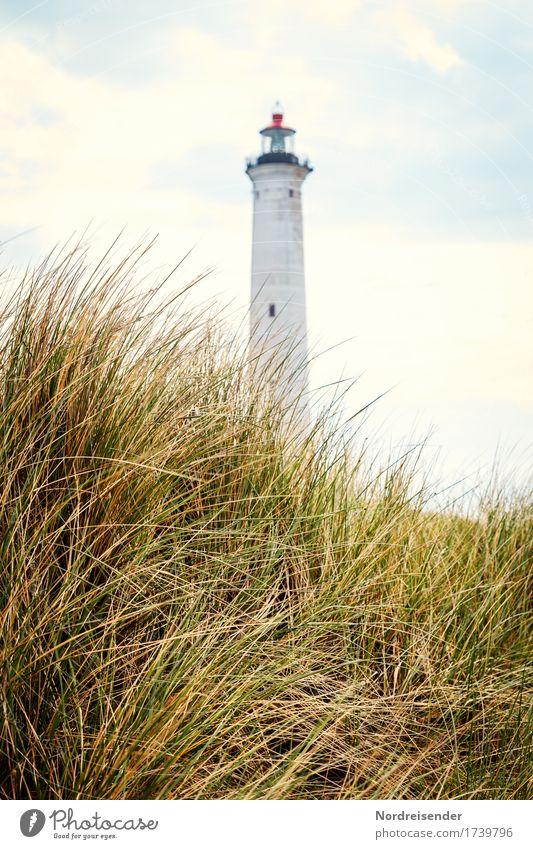 Dänemark Ferien & Urlaub & Reisen Tourismus Sommer Meer Natur Landschaft Himmel Wolken Herbst Gras Küste Nordsee Leuchtturm Bauwerk Architektur Schifffahrt