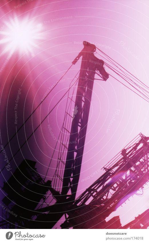 love spread around me. Himmel Metall rosa groß violett analog Stahl Maschine Leipzig Kran Eisen Bergbau gigantisch Cross Processing Braunkohlentagebau Drahtseil
