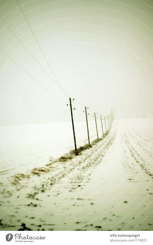 l l l Winter kalt Schnee Landschaft Eis Feld Nebel trist Frost Kabel authentisch Strommast Leitung wirklich minimalistisch schlechtes Wetter