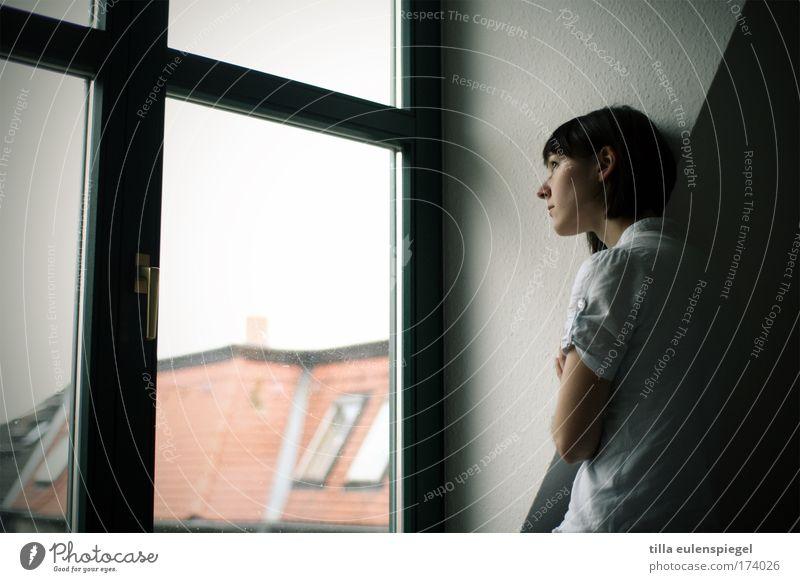 buenavista Jugendliche ruhig Erholung feminin Gefühle Fenster Denken Zufriedenheit Stimmung Erwachsene Aussicht stehen Häusliches Leben beobachten geheimnisvoll