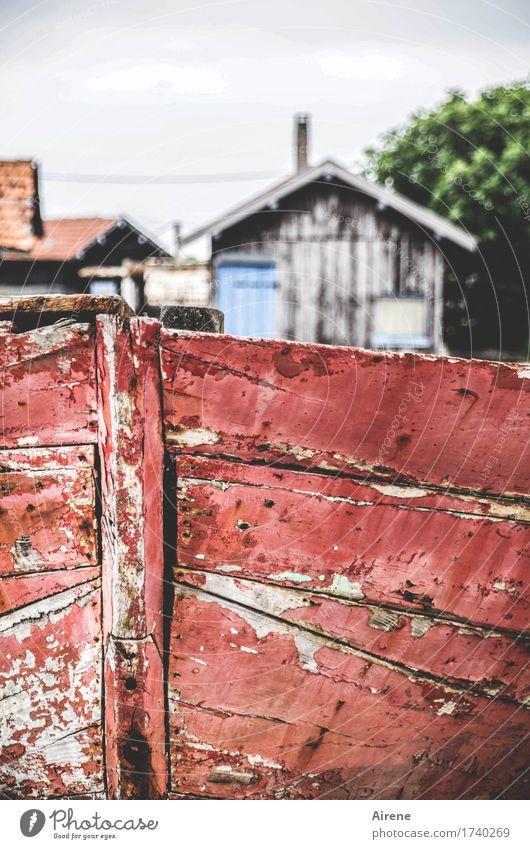 Bretterbude Häusliches Leben Haus Renovieren Dorf Fischerdorf Hütte Holzhaus Baracke Wohnung Bretterzaun Zaun Holzbrett alt einfach kaputt trist grau rot