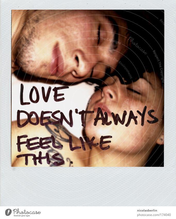 Goodbye My Lover Farbfoto Gedeckte Farben Experiment Polaroid Textfreiraum unten Abend Nacht Paar Partner Haut 2 Mensch 18-30 Jahre Jugendliche Erwachsene