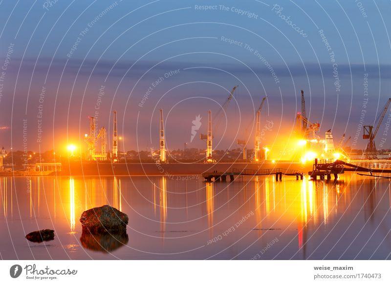 Tanker im Hafen. Hafen in der Nacht Ferien & Urlaub & Reisen Meer Industrie Güterverkehr & Logistik Business Landschaft Wasser Himmel Sommer Schönes Wetter