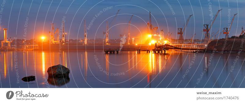 Tanker im Hafen. Hafen in der Nacht Himmel Ferien & Urlaub & Reisen blau Sommer Landschaft Meer Umwelt sprechen Küste Business Wasserfahrzeug Verkehr