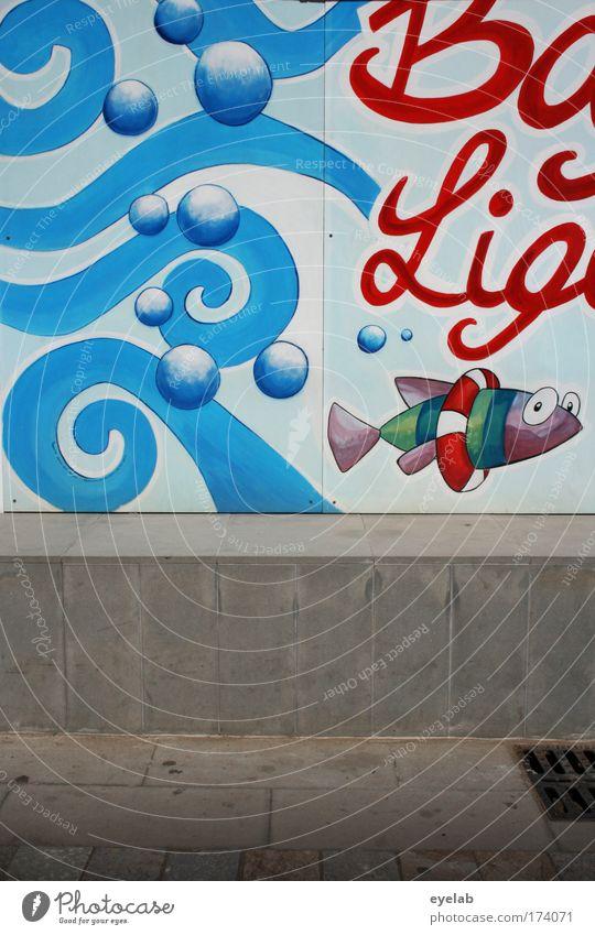 Ba Lig Wasser Stadt Freude Tier Wand Graffiti Mauer Kunst lustig Wellen Fassade Schwimmen & Baden Beton Fröhlichkeit Fisch Schriftzeichen