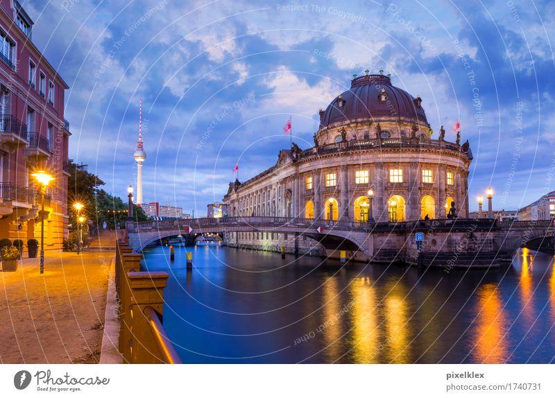 Museumsinsel bei Nacht Tourismus Sightseeing Städtereise Nachtleben Kultur Nachthimmel Fluss Spree Berlin Berlin-Mitte Deutschland Stadt Hauptstadt Stadtzentrum