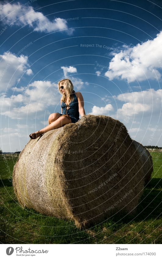lena in heaven Mensch Natur Jugendliche schön Freude Erwachsene feminin Umwelt Landschaft Gras Glück Feld blond ästhetisch stehen Coolness