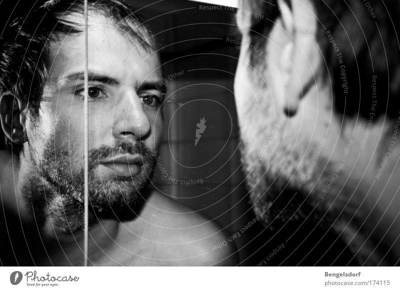 Man in the mirror Mensch schön ruhig Gesicht Haare & Frisuren maskulin Lifestyle Bad Bart Körperpflege Spiegel ernst Spiegelbild Vollbart Dreitagebart
