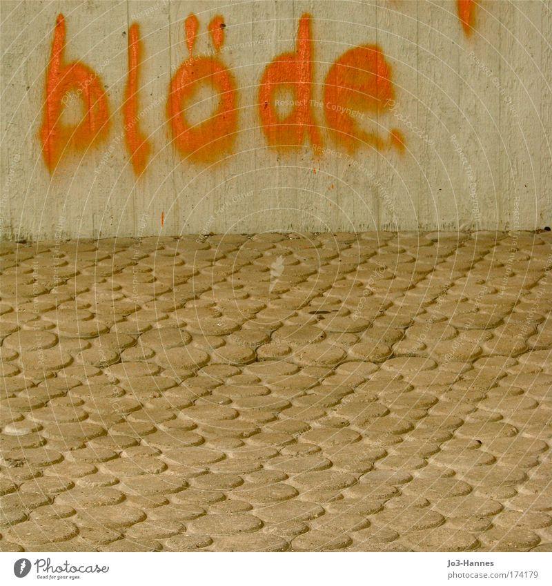 Zimtzicke, du! Stadt gelb Wand Stein Mauer Graffiti braun Beton Schriftzeichen Wut dumm Ärger Aggression Hochmut Dummkopf Willensstärke