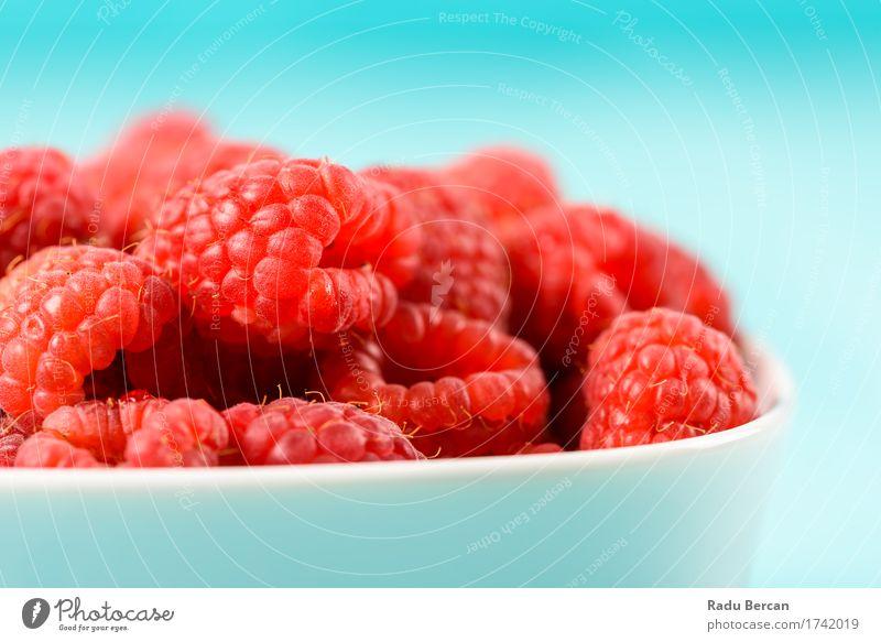 Schüssel frische Himbeeren Lebensmittel Frucht Ernährung Essen Frühstück Bioprodukte Vegetarische Ernährung Diät Schalen & Schüsseln Fressen füttern saftig süß