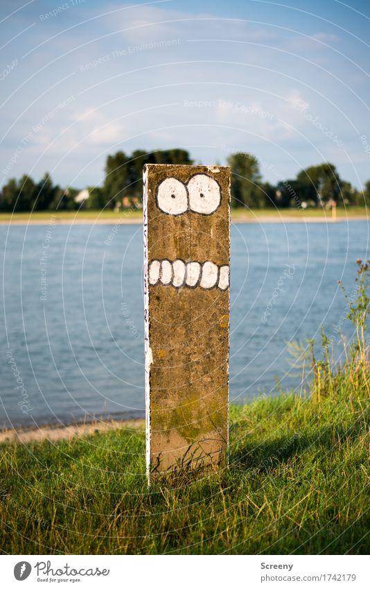 Rheinbeisser Landschaft Auge Graffiti lustig Gras Schilder & Markierungen Beton Fluss Zähne Flussufer frech Straßenkunst Comic