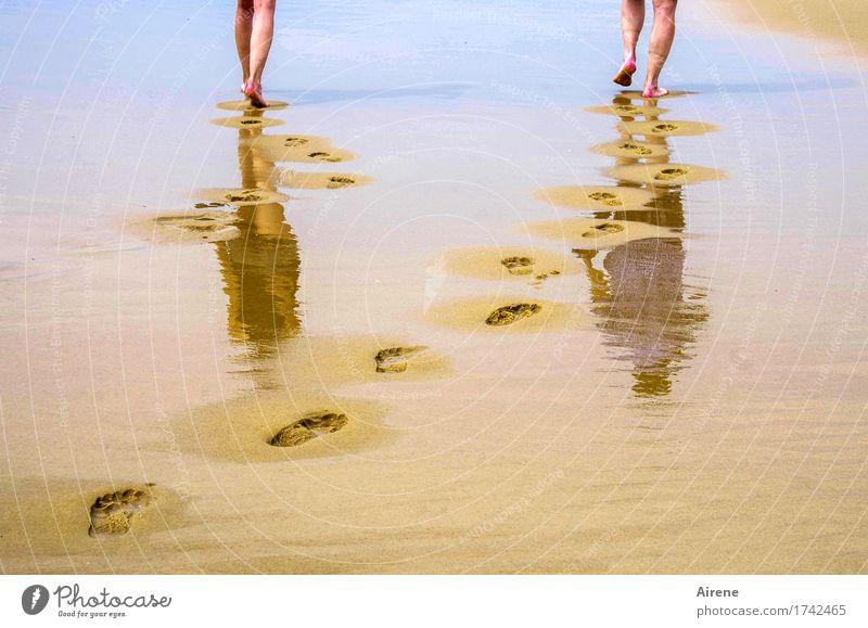 900 Schritte... Sommerurlaub Strand Meer Mensch maskulin feminin Junge Frau Jugendliche Mann Erwachsene Vater Leben Beine Fuß 2 18-30 Jahre 45-60 Jahre Sand