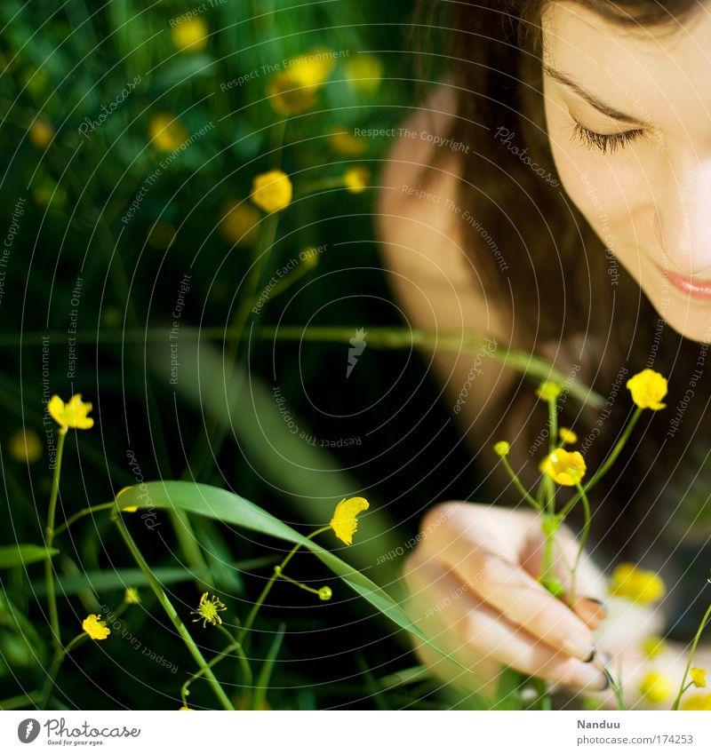 genießen Frau Jugendliche schön Sommer Blume Erwachsene Wiese feminin Glück Zufriedenheit Hoffnung 18-30 Jahre Lächeln Mensch Junge Frau Schönes Wetter