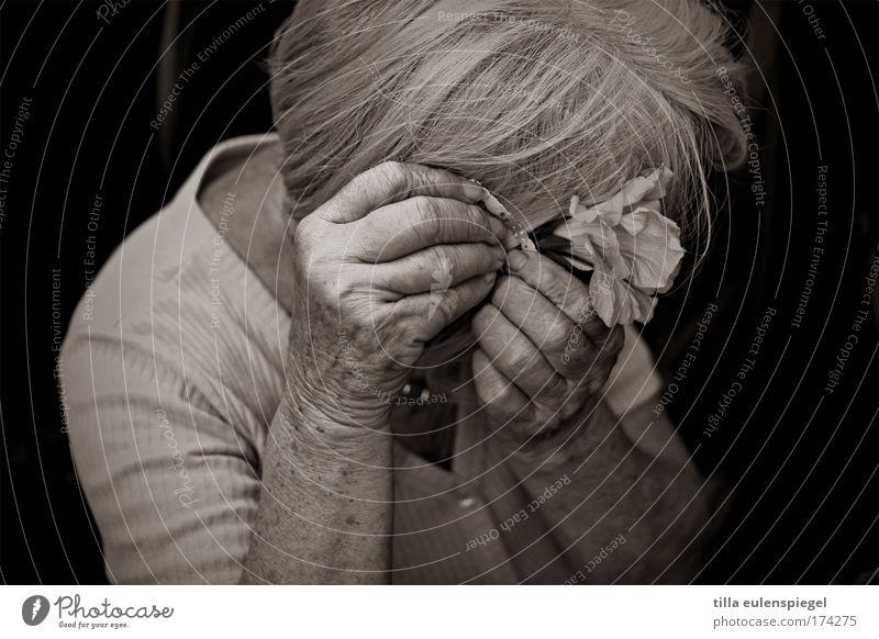 blumenlady Schwarzweißfoto Außenaufnahme Vogelperspektive Oberkörper Wegsehen Weiblicher Senior Frau Großmutter 1 Mensch 60 und älter Hibiscus Garten