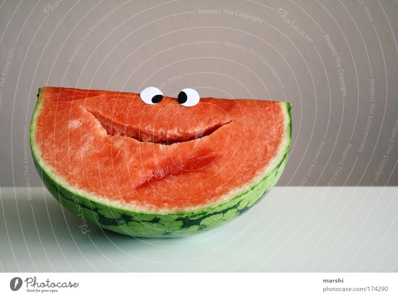 lachender Willy grün Sommer rot Freude Gesicht Auge Gefühle Glück lustig Gesundheit Stimmung Frucht Ernährung Lebensmittel Fröhlichkeit