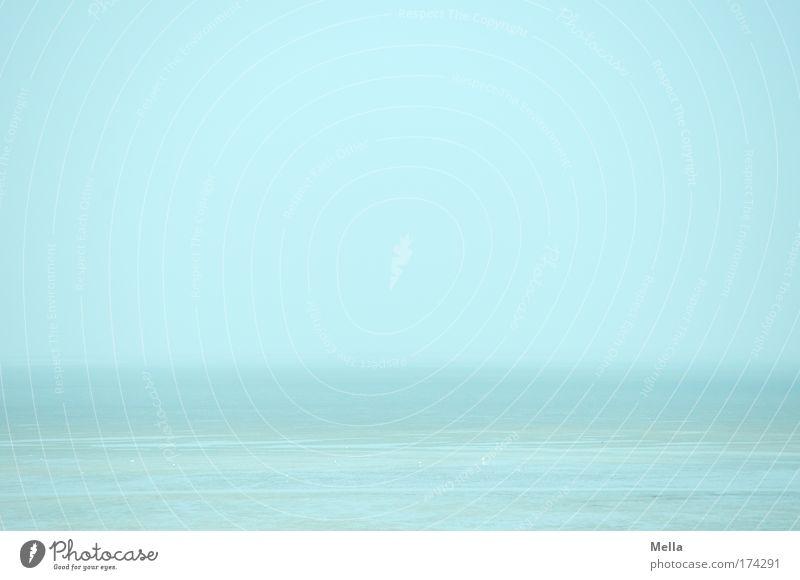 Morgens am Meer Natur Wasser blau Strand Ferien & Urlaub & Reisen ruhig Ferne Erholung Freiheit Sand Landschaft Luft Stimmung Küste Nebel